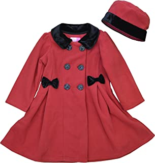 Good Lad Infant Girls Red Fleece Dress Coat with Fur Trim and Matching Hat
