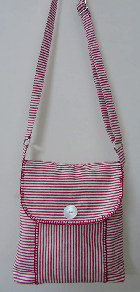 Panigha Handmade India Cotton Pin Stripe Cross body bag with flap and zipper closure and long adjustable belts in beet red color