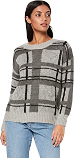 St. Cloud Label Women's Paxon Plaid Crew Jumper, Grey/Charcoal