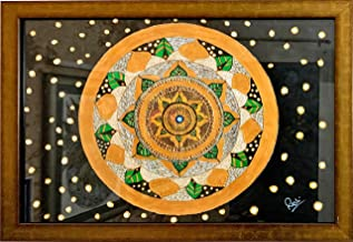 Art Instinct by Rashi - Handmade Mandala Painting on Canvas Paper Size 23nch X 16inch with Beautiful Wooden Frame - Artist...