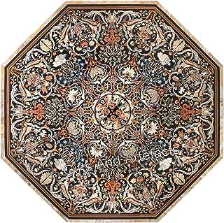 Table de salle à manger en marbre noir avec incrustation Pietra Dura Art pour la décoration de la maison 183 cm