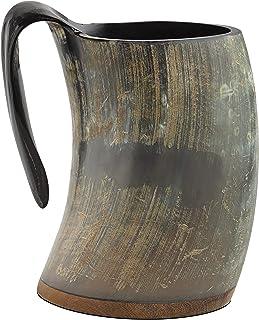 Eleet Original Viking Drinking Horn Mug - 20 Oz Wood Base Extra Large Medieval Inspired Cup Unpolished Natural & Real Horn...
