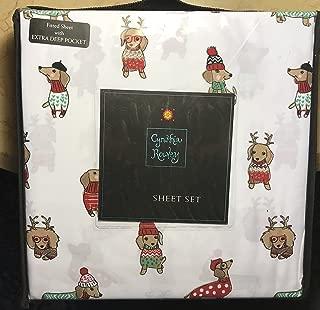 cynthia rowley CHRISTMAS DOGS Sheet Set - QUEEN SIZE