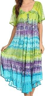Sakkas Sula Tie-Dye Wide Neck Embroidered Boho Sundress Caftan Cover Up