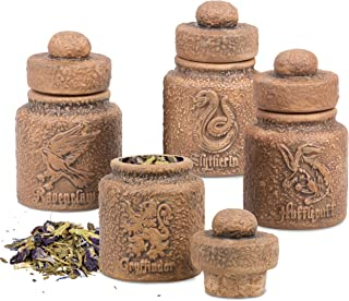 Harry Potter Ceramic Storage Jars with Hogwarts Houses, Set of 4 - Store Potions Ingredients, Herbs, Spices and More - wit...