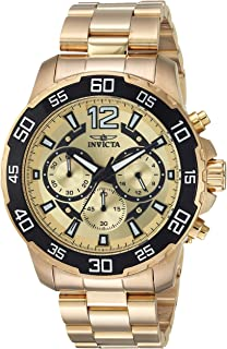 Men's Pro Diver Quartz Watch with Stainless-Steel Strap, Gold, 22 (Model: 22715)