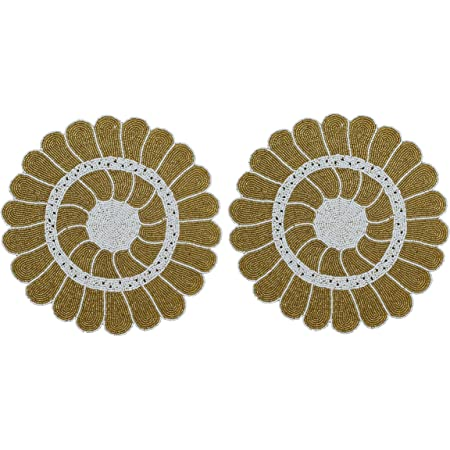 Amazon Com Beaded Placemat Set Of 2 Sunflower Design Round Hand Beaded Charger Placemat Gold White 13 Inch Round Hand Made By Skilled Artisans A Beautiful Complement To