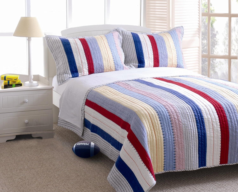Greenland Home Prairie Stripe Quilt Set, Twin