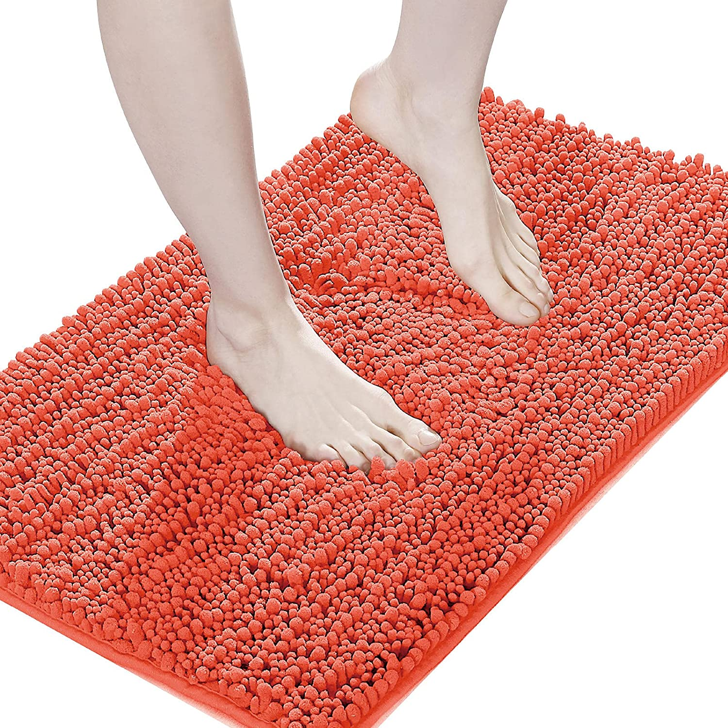 Suchtale Luxury Chenille Bathroom Rug, Non Slip Bath Mat (17x24 Inch Living Coral) Water Absorbent Soft Plush Shaggy Microfiber Rugs, Machine Washable Dry Extra Thick Small Carpet for Shower Floor