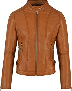 Carrie CH Hoxton Señoras Chaqueta de Cuero 100% Moda Casual Acolchado Hombro Biker Estilo 3061