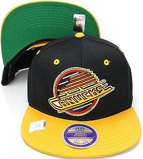 Reebok Vancouver Canucks Black/Yellow Two Tone Snapback Adjustable Plastic Snap Back Hat/Cap