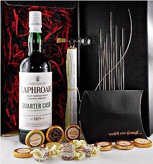 Geschenk Laphroaig Quarter Cask Single Malt Whisky  Glaskugelportionierer  Edelschokolade  Whiskey Fudge