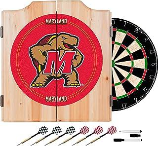 NCAA University of Maryland Wood Dart Cabinet Set