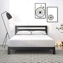 Zinus Arnav Modern Studio Black Metal Platform Bed Frame Base Mattress with Headboard | Good Design Award Winner - Industr...
