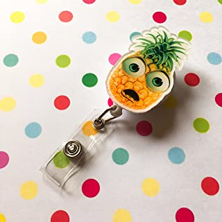 Pineapple Cute Suprised Face Decorated Retractable Badge Reel ID Holder with Clip Backing