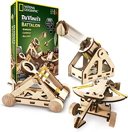 National Geographic - Da Vinci's DIY Science Engineering Construction Kit – Build Three Functioning Wooden Models: Catapult, Bombard Ballista