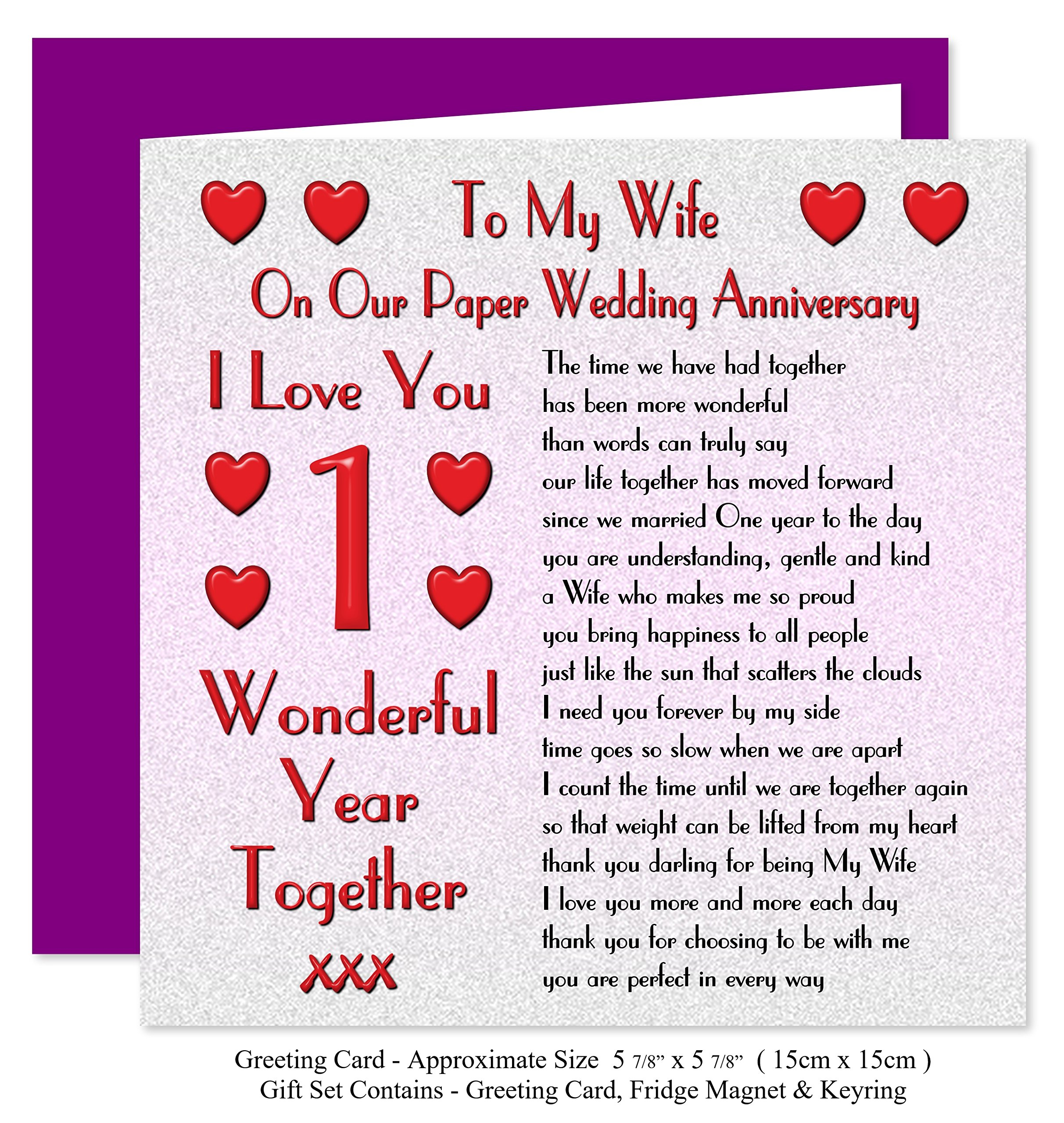 My Wife 1st Wedding Anniversary Gift Set Card Keyring Fridge Magnet Present On Our Paper Anniversary 1 Year Sentimental Verse I Love You Amazon Co Uk Office Products