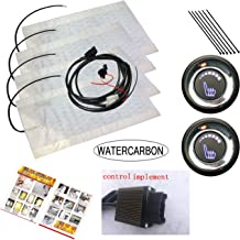 WATERCARBON Universal Built-in Car Heated Seat Heater Pad Car Seat Warmer Covers Kit Uses Carbon Fiber Premium White Heating pad 2 Seats (6 Files LED Knob Switch Seat Heater Pad 2 Seats)