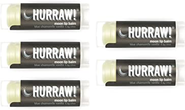 Hurraw Moon Night Treatment (Blue Chamomile, Vanilla) Lip Balm, 5 Pack