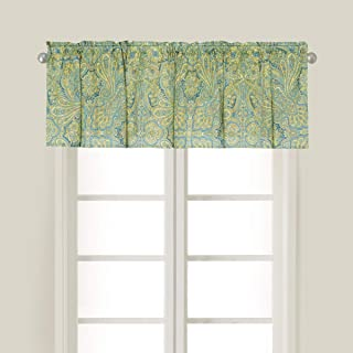 C&F Home Kashmir Paisley Damask Green Blue Floral Cotton Bedroom Bedroom Guest Room Premium Window Printed Valance Valance Teal Green Yellow Blue Aqua