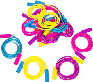 Boley 12 Pack Jump Rope Set - Bundle of Colorful Outdoor Jump Ropes for Kids Physical Education - Great As Party Favors, Party Packs, Birthday Gifts, Goodie Bag Fillers, and More!
