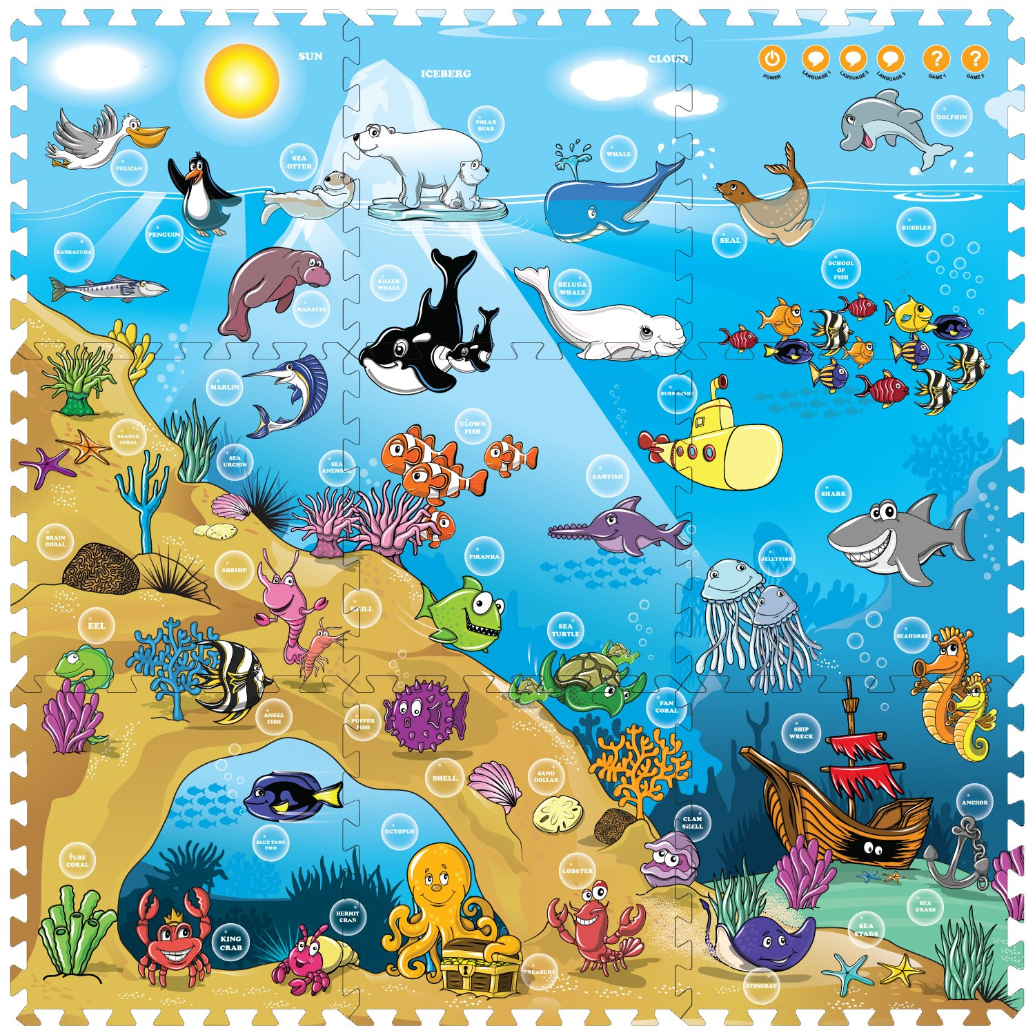 shipfree Creative Baby 9 Piece Interactive Max 78% OFF Sea Playmat i-Mat The Under