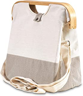 achilles Einkaufstasche mit Holzgriff Natur, faltbare Handtasche, Tragetasche mit Schultergurt, umweltfreundliche Tasche, ...