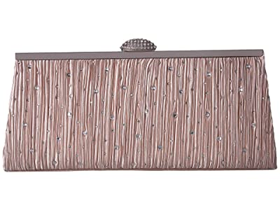 Jessica McClintock Sloan Pleated Frame Clutch (Champagne) Handbags