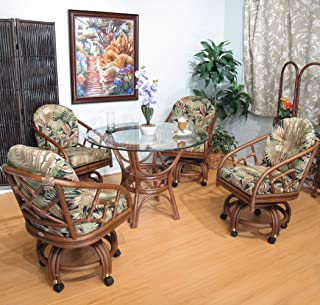 Made in USA Rattan Swivel Caster Chair and Table 5 Piece Dining Set (#2406AW-BC)