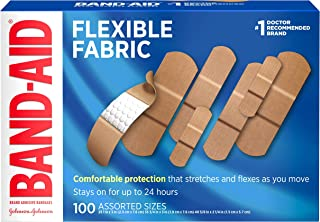 Band-Aid Brand Flexible Fabric Adhesive Bandages for Wound Care & First Aid, Assorted Sizes, 100 ct, Beige