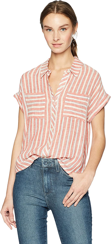 Lucky Brand Womens Tie Back Stripe Shirt Shirt