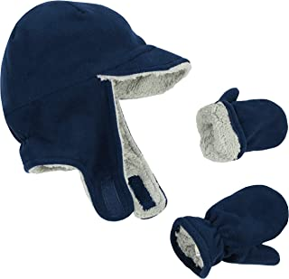 N'Ice Caps Little Boys and Baby Sherpa Lined Fleece Flap Hat Mitten Winter Set