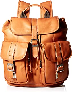 Piel Leather Medium Drawstring Backpack with Two Front Pockets, Saddle