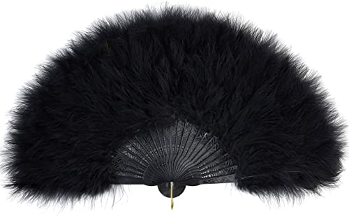 BABEYOND Roaring 20s Vintage Style Folding Handheld Flapper Marabou Feather Hand Fan for Costume Halloween Dancing Pa...