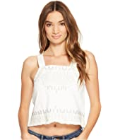 Blank NYC - Embroidered Sleeveless Shirt in Snow Flake