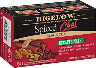 Bigelow Decaffeinated Spiced Chai Tea Boxes, Caffeinated Individual Black Tea Bags, for Hot Tea or Iced Tea, 20 Count (Pack of 6), 120 Tea Bags Total.