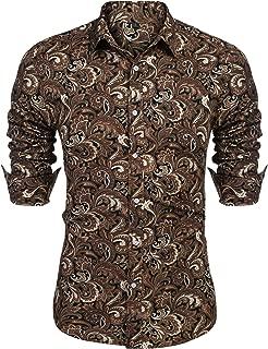 Men's Floral Dress Shirt Long Sleeve Casual Paisley Printed Button Down Shirt