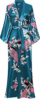 BABEYOND Women's Kimono Robe Long Robes with Peacock and Blossoms Printed 1920s Kimono Nightgown