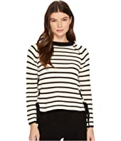 ROMEO & JULIET COUTURE - Striped Crew Neck Knit Sweater