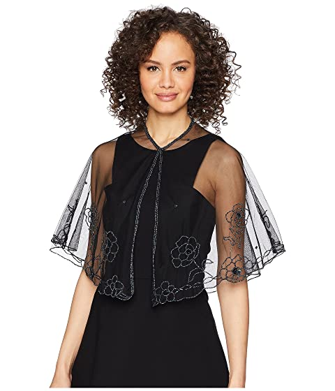 1920s Style Shawls, Wraps, Scarves Betsey Johnson Beaded Floral Capelet Black Womens Clothing $38.00 AT vintagedancer.com