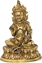 Tibetan Buddhist Kubera Seated on Lotus Pedestal - Brass Statue