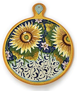 CERAMICHE D'ARTE PARRINI- Ceramica italiana artistica, sottopentola decorazione girasole, dipinto a mano, made in ITALY To...