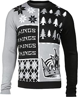 Forever Collectibles KLEW NHL Los Angeles Kings Busy Block Ugly Sweater, Large, Black