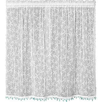 White 6340W-4224HT Heritage Lace Beach Trellis 42-Inch Wide by 24-Inch Drop Tier with Trim