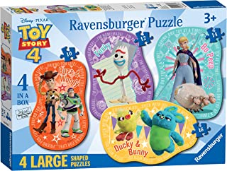Ravensburger Disney Toy Story 4-4 Large Shaped Jigsaw Puzzles (10, 12, 14, 16 Piece) for Kids age 3 years and Up