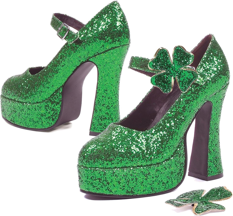ELLIE 557-LUCKY 5  Chunky Heel Green Glitter Maryjane