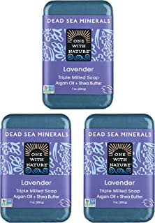 DEAD SEA Salt Lavender SOAP 3 PK, Dead Sea Salt Includes Sulfur, Magnesium, etc. Shea Butter, Argan Oil. All Skin Types, P...