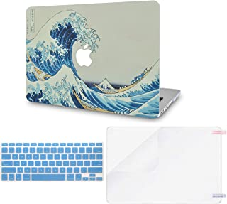 LuvCase 3 in 1 Laptop Case for MacBook Pro 15 Touch Bar (2019/2018/2017/2016) A1990/A1707 Hard Shell Cover, Keyboard Cover & Screen Protector (Japanese Wave)