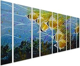 Pure Art Blue Tropical School of Fish Metal Wall Art, Giant Art in Modern Ocean Design, 9-Panels of 86