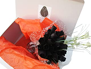 The Original Wooden Rose All Black Gothic Roses Halloween Floral Flower Bouquets in a Gift Box (2 Dozen) …